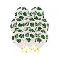 Green Forest  Leaves Latex Balloons