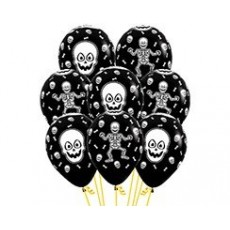 Halloween Fashion Black Skeleton Latex Balloons