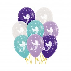 Teardrop Mermaid Wishes Mermaid Design Latex Balloons 30cm Pack of 12