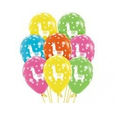 Llama Fun Tropical Colours Llama Design Latex Balloons
