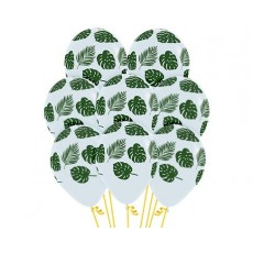 Forest Green Leaves on Clear Latex Balloons 30cm Pack of 12