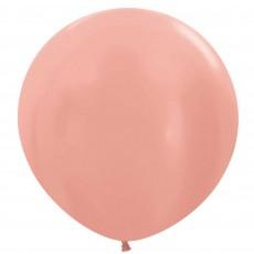 Metallic Rose Gold Pink Latex Balloons 60cm Pack of 3