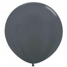 Metallic Graphite Silver Latex Balloons 60cm Pack of 3