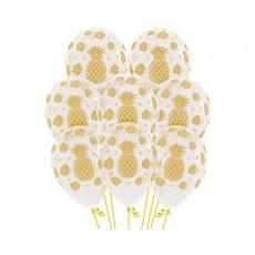 Hawaiian Luau Tropical Design on Crystal Clear Latex Balloons