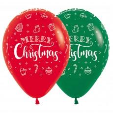 Christmas Fashion Red & Green Wreath Latex Balloons