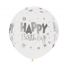 Happy Birthday Fantasy Crystal Clear METALink Latex Balloons