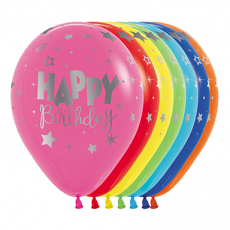Fantasy Fashion Assorted Colours Happy Birthday METALink Latex Balloons 30cm Pack of 12