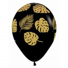 Black Gold Leaves on Fashion Latex Balloons