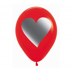 Love Fashion Red with Metal Ink Heart Latex Balloons