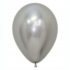 Metallic Reflex Silver Latex Balloons 30cm Pack of 50