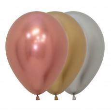 Metallic Reflex Multi Coloured Deluxe Latex Balloons 30cm Pack of 50