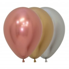 Multi Colour Metallic Reflex ed Deluxe Latex Balloons