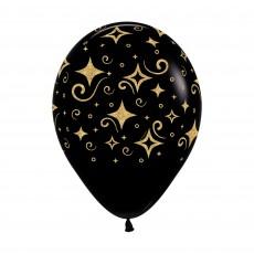 Black Golden Diamonds Fashion Latex Balloons