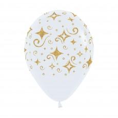 Golden Diamonds Fashion White Latex Balloons 30cm Pack of 12