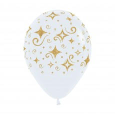 White Golden Diamonds Fashion Latex Balloons