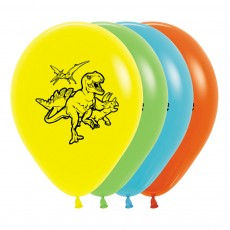 Dinosaur Fashion Yellow, Lime, Caribbean Blue & Orange  Latex Balloons