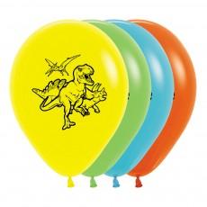 Dinosaur Party Decorations - Latex Balloons Fashion Yellow, Lime, Caribbean Blue & Orange