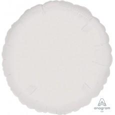 Round Metallic White Standard HX Foil Balloon 45cm