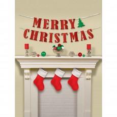 Christmas Tree Glittered ribbon Banner