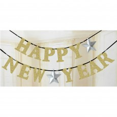 New Year Silver Stars Gold Glittered Ribbon Banner