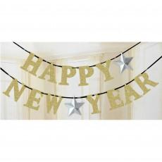 Silver Stars Gold Glittered Ribbon Happy New Year Banner 12cm x 3.65m