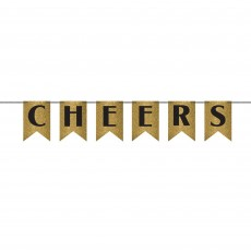 Black & Gold New Year Glittered Ribbon Cheers Pennant Banner 24cm x 3.65m