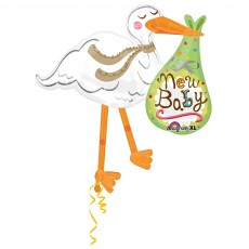 Baby Shower - General SuperShape XL Stork Shaped Balloon