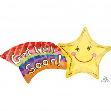 Get Well SuperShape XL Shooting Star Shaped Balloon
