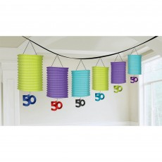 50th Birthday Celebration Paper Lantern Garland