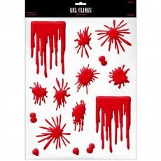 Halloween Asylum Blood Splats & Drips Gel Clings Misc Decoration