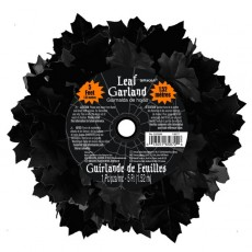 Halloween Boneyard Black Leaf Garland