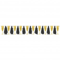 New Year Champagne Glasses & Tassels Ribbon Banner
