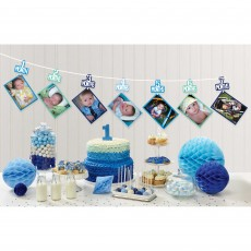 Boy's 1st Birthday Photo Ribbon Garland