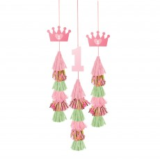 Girl's 1st Birthday Party Supplies - Hanging Decorations Dangle Tassel