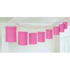 Bright Pink Paper Garland Lantern 3.65m