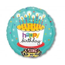 Happy Birthday Striped Candles Sing-A-Tune XL Singing Balloon