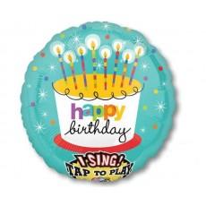 Round Happy Birthday Striped Candles Sing-A-Tune XL Singing Balloon 71cm