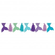 Mermaid Wishes Glitter Pennant Tassel Garland