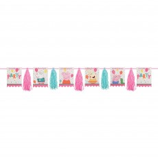 Peppa Pig Party Decorations - Garland Confetti Party Pennants & Tassel