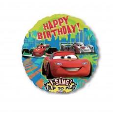 Round Disney Cars Group Happy Birthday! Singing Balloon 71cm