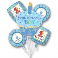 Sweet Cupcake 1st Birthday Boy Bouquet Foil Balloons