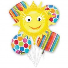 Hawaiian Cabana Dots Sun Bouquet Foil Balloons