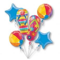 Hawaiian Luau Flip Flops Bouquet Foil Balloons