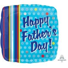Square Standard XL Dots & Stripes Happy Father's Day! Foil Balloon 45cm