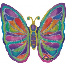 Multi Colour SuperShape XL Holographic Sparkles Butterfly Shaped Balloon
