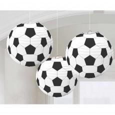 Round Soccer Fan Paper Lanterns 24cm Pack of 3