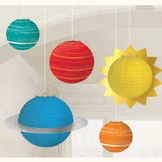 Blast Off Planets Paper Lanterns Pack of 5