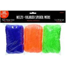 Halloween Purple, Orange & Green Glows under Black Light Spider Webs Misc Decoration
