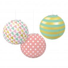Pastel Celebration Round Paper Lanterns Pack of 3