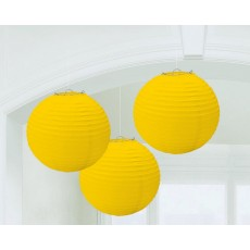 Round Sunshine Yellow Paper Lanterns 24cm Pack of 3